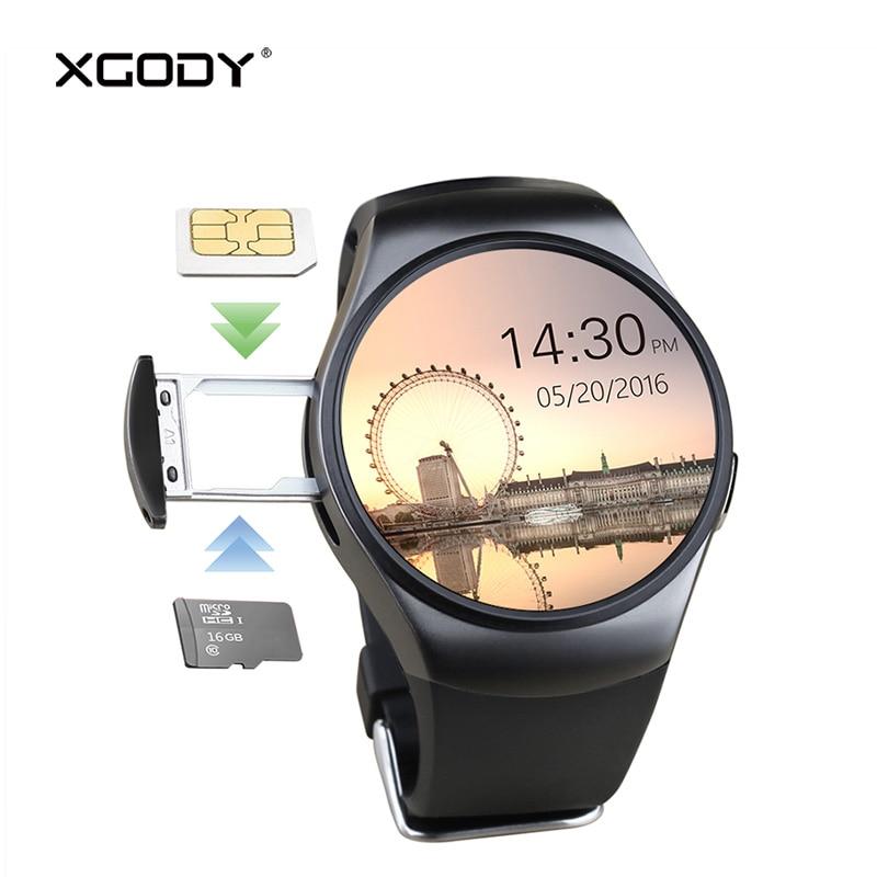 Xgody KW18 montre intelligente hommes prennent en charge la carte SIM TF Bluetooth appel fréquence cardiaque podomètre Sport Modes Smartwatch pour Android IOS