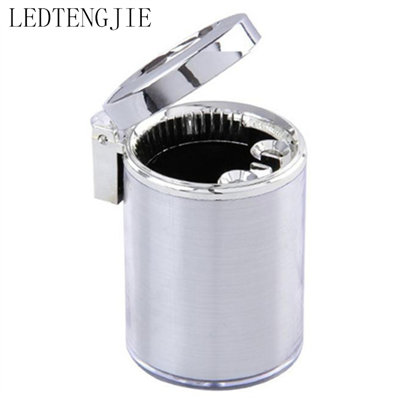 Luxury Car Accessories Portable LED Car Ashtray High Quality Universal Cylinder Molding Mini Ashtray Holder Cup