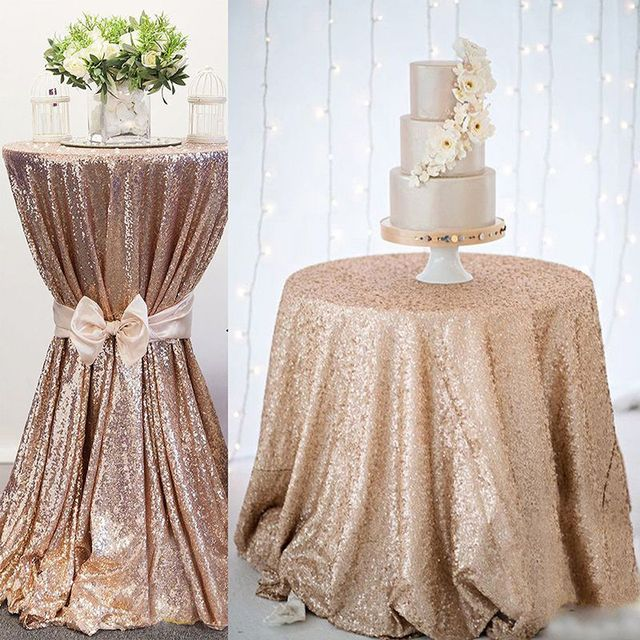 3mm Full Household Tablecloth DIY Table Decoration Rose Gold Sequin Embroidered Tablecloth