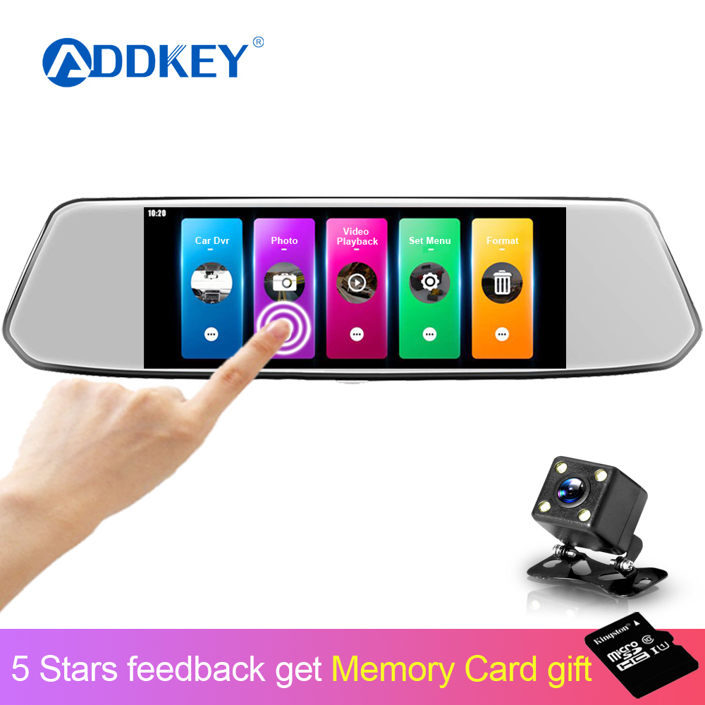 ADDKEY Video-Recorder Camera Rearview-Mirror Car-Dvr Dash-Cam Dual-Lens Touch-Screen