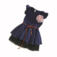 2014 Korean Princess Tutu skirts polka dots navy blue children