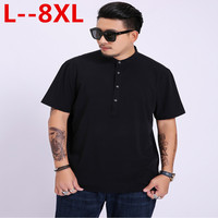 8XL 6XL Pullover Cotton Shirts Dress Men's Shirts Slim Fit White Solid Short Sleeve Summer Men Clothes Male Tops Hombre Camisas