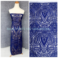 New Hight Quality Blue Black White Wine Hollow Embroidered Wedding Evening Dress Clothing Lace Fabric 1