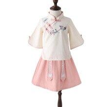 Одежда для девочек Hanfu/Детское платье в стиле Тан для маленьких девочек Cheongsam/Летняя одежда для девочек, комплект из 2 предметов, рубашка+ платье принцессы