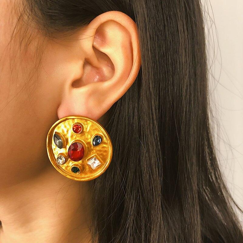European Vintage Style Metal Round Crystal Zircon Stud Earrings for Women Creative Statement Earrings Fashion Jewelry XR2082