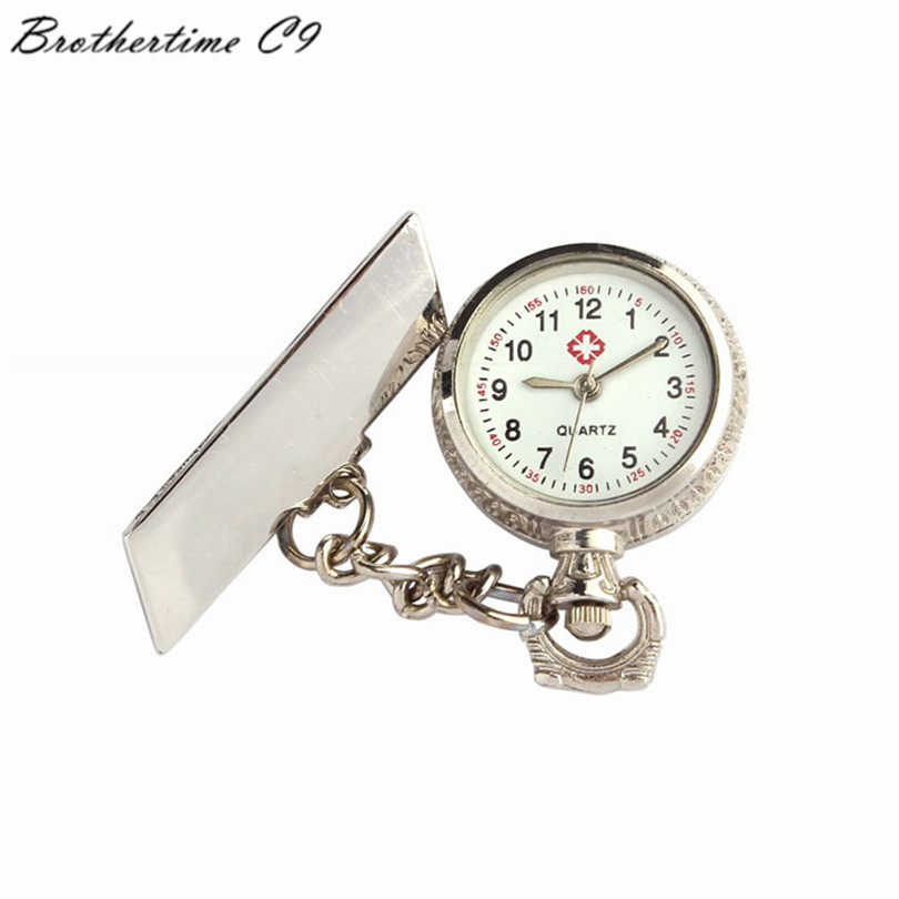 Attractive Full Steel Unisex Arabic Metal Fibula Nurse White Dial Quartz Pocket Watch Gift