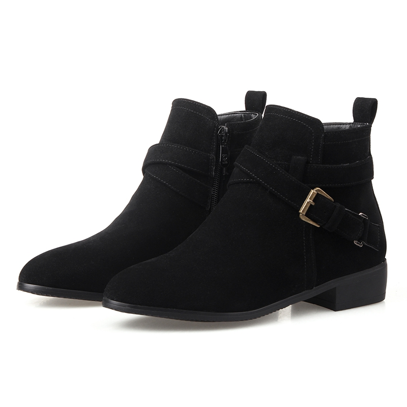 Sexy New Style Women Ankle Boots Buckle Shoes Low Heels Black Brown Suede Leather Autumn Winter Boots Size 34-43 86162dz стоимость