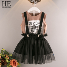 HE Hello Enjoy Girls Clothes Children's Clothing Sets Cartoon Print Letter T-shirt+Suspender Mesh Skirt Outfits Kids Clothes цены онлайн