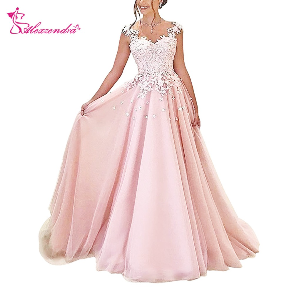 Alexzendra Pink Tulle Prom Dresses Scoop Neck Illusion Back Evening Dresses Plus Size Party Women Gown(China)