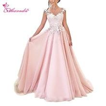 Alexzendra Pink Tulle Prom Dresses Scoop Neck Illusion Back