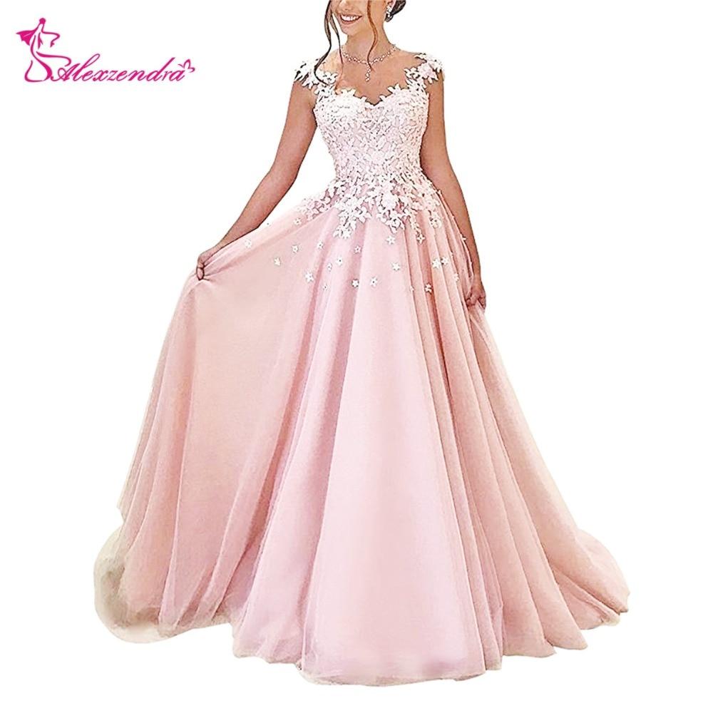 Alexzendra rose Tulle robes de bal encolure dégagée Illusion retour soirée robes de grande taille robe de soirée femmes