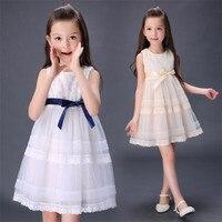 小学校の女の子学生上記膝oネックドレス、中期大きな子供ノースリーブ甘いプリンセスドレス+弓ベルト、用3-15年齢