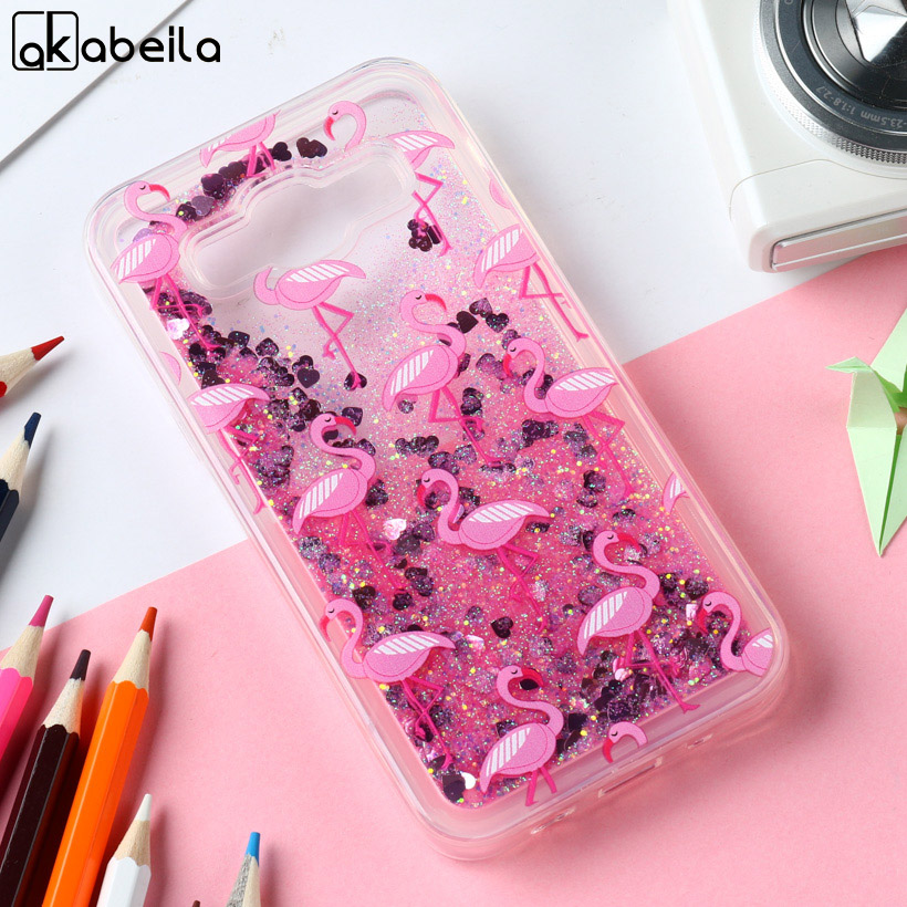 Akabeila Silicon Case For <font><b>Samsung</b></font> Galaxy A5 2014 Case Flamingo Quicksand Anti-knock Cover For A500F A500FQ <font><b>A500FU</b></font> A500HQ Covers image