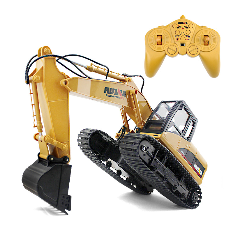 HuiNa Toys RC Car RC Rock Crawlers 15 Channel 2.4G 1/14 RC Excavator Charging RC Excavator Remote Control Car Off-Road Vehicle
