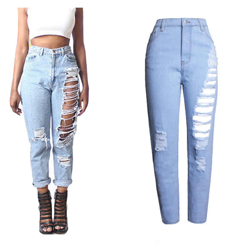 2017 Women Hole Slim Jeans Female Plus Size Ripped Vintage High Waist Casual Cotton Blue Denim Pants Clothing WJNSL022