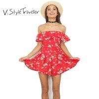 Red Floral Print Szyfonu Playsuit off Shoulder Sexy Kombinezon roupas feminino vestido Romper Bodysuit Kobiety Szorty Ruffles monos