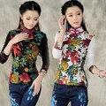 Китайский стиль vintage классический мандарин воротник с длинным рукавом цветочный принт футболка для женщин 2017 осень зима элегантный футболка tee