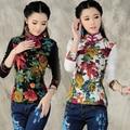 Chinese style vintage classic mandarin collar long sleeve floral print t-shirt for women 2017 autumn winter elegant t shirt tee