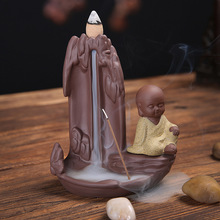 Home Decor The Water Falls Creative Little Monk Bullet Blackflow Incense Cones Or Incense Stick Burner Smoke Ceramic Censer