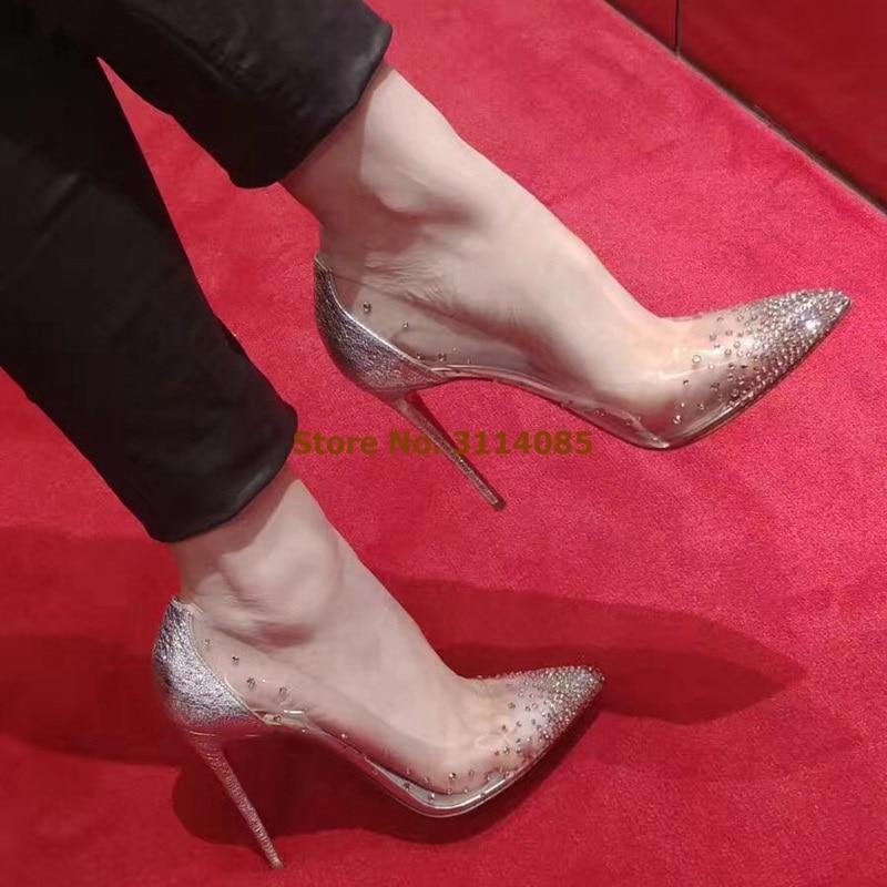 Женские Элегантные шикарные свадебные туфли с украшением в виде кристаллов открытые белые модельные туфли лодочки в стиле пэчворк прозрачные туфли для торжеств из ПВХ блестящие туфли лодочки - 2