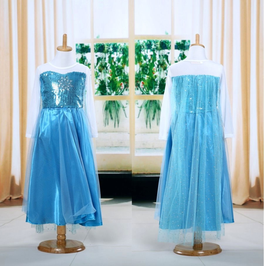2017 Hot Sale Kids Baby Girls Dress Long Sleevele Blue Sequins Frozen Lace Princess Cosplay Pageant Party Maxi Tulle Dress 4-5Y hot sale halter beading sequins short homecoming dress