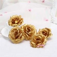Flor artificial de rosa de seda dourada 8cm, decoração de casa, flores falsas, faça você mesmo, artesanato, simulação de flores pretas, 1 peça
