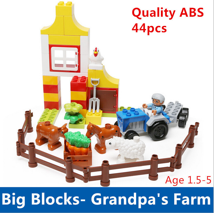Educational Toys Self-locking Bricks Grandpa's Farm Set Quality ABS Big Building Blocks Funny DIY Toys Boys Girls Best Gift 100pcd pack children snowflake match building blocks colorful self locking bricks 3 5cm big plastic blocks kids educational toys