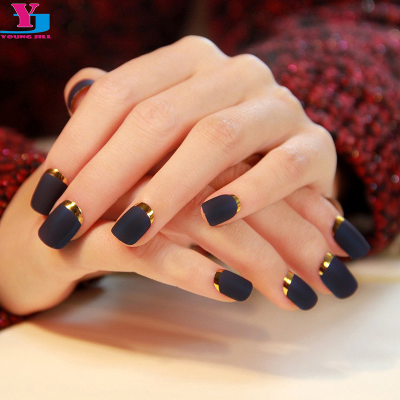High Quality 24ps Matte Black Fake Nails Short Design Metallic ...