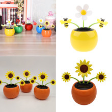2 Pieces Solar Powered Sun Dancing Flower with Bee Dancing Toy Home Car Dashboard Decoration Funny Toys Gift(China)