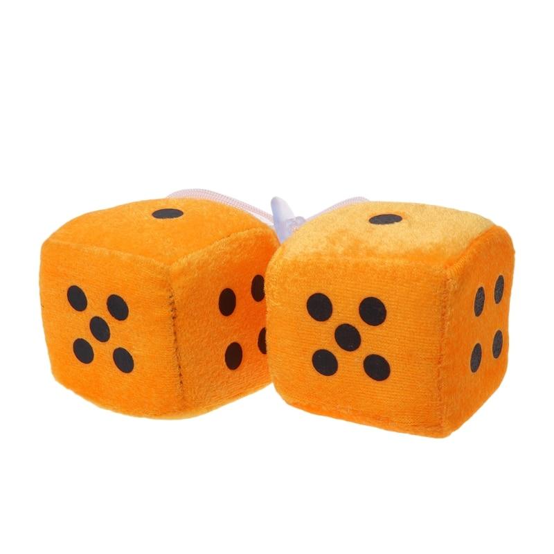 Модная новинка; 1 пара авто нечетких кости точек зеркало заднего вида подвесные украшения стайлинга автомобилей интерьера аксессуары 6 цветов - Название цвета: Оранжевый