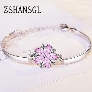 Настоящее серебро 925 пробы, светящийся розовый цветок маргаритки, женские браслеты, прозрачный CZ Кристалл, модный браслет, ювелирное издели...