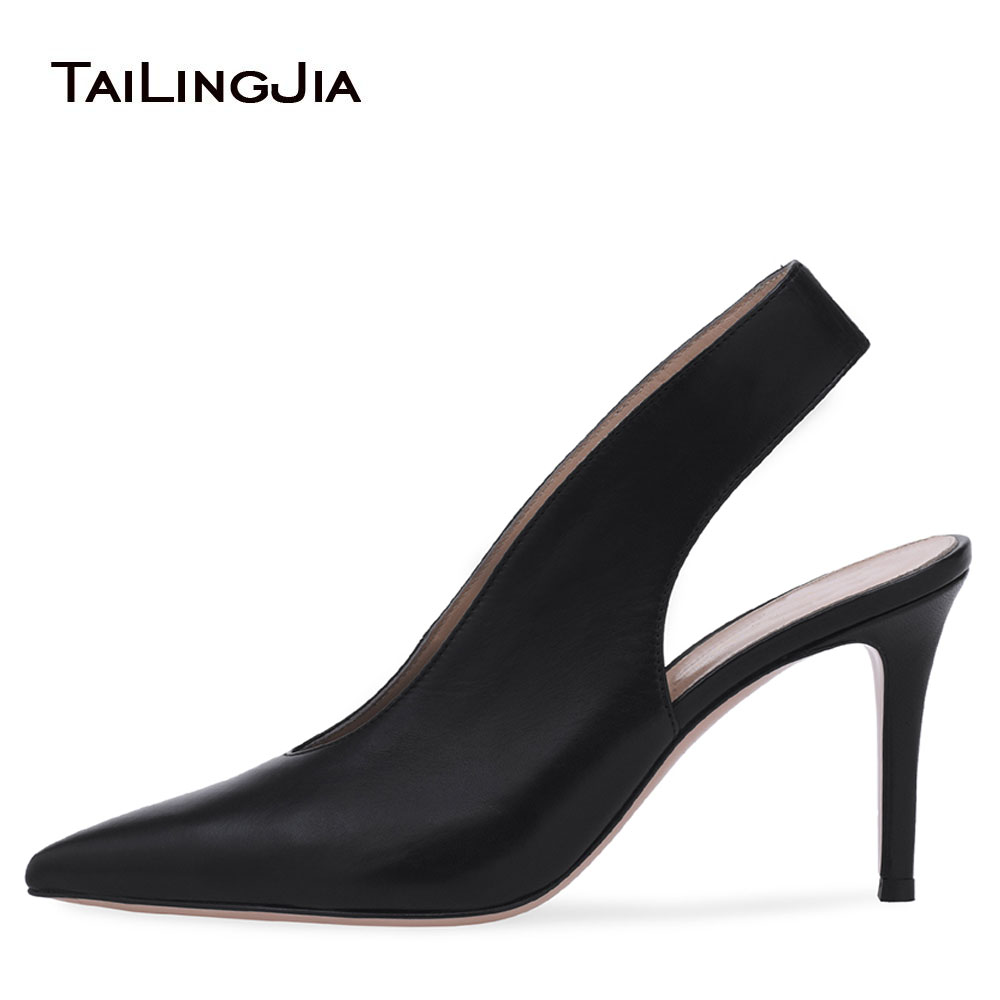 Large Size Latest Elegant Nude Heeled Pumps Ladies White Wedding Shoes Pointy Heels Pointed Toe Women Black High Heel SlingbacksLarge Size Latest Elegant Nude Heeled Pumps Ladies White Wedding Shoes Pointy Heels Pointed Toe Women Black High Heel Slingbacks
