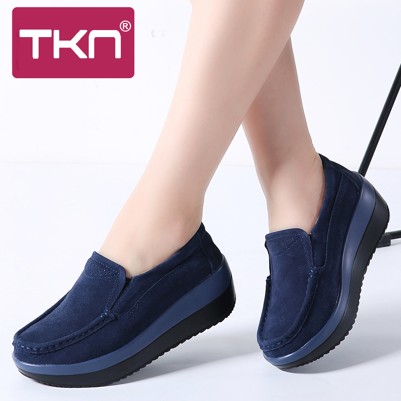 TKN 2019 spring women flat platform shoes ladies slip on   suede     leather   hollow casual shoes moccasins women creepers shoes 828