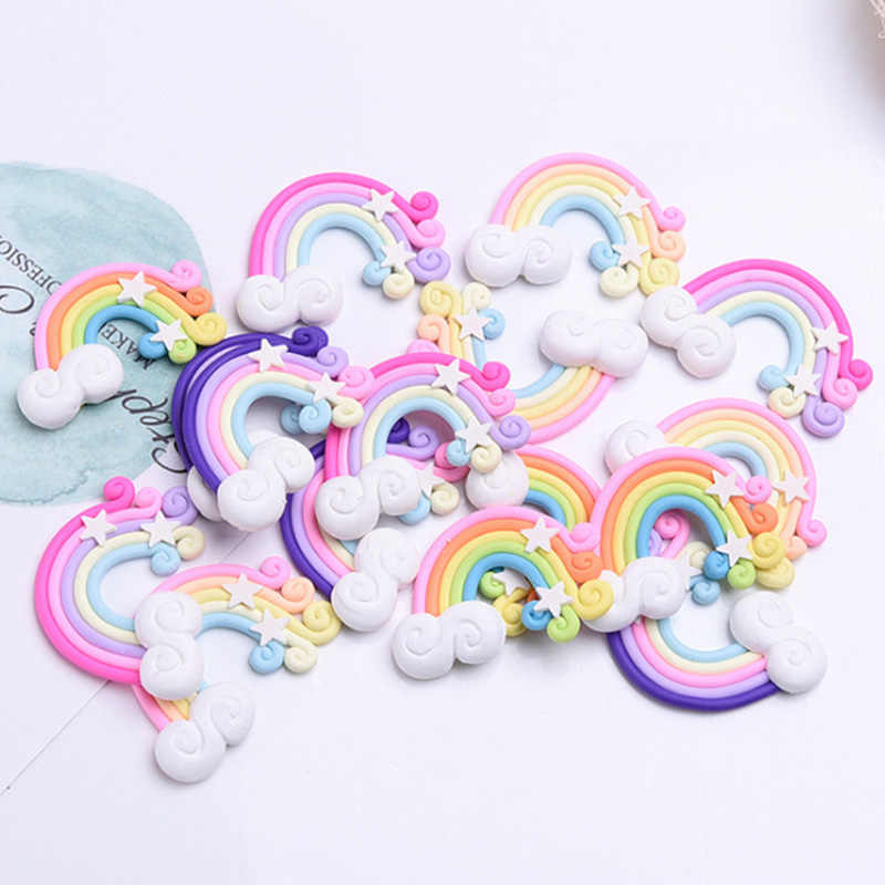 1/5/10PCS Rainbow Fimo Flatback Buttons Craft Appliques Slime Clay Candy DIY Charm Cake Phone Decoration