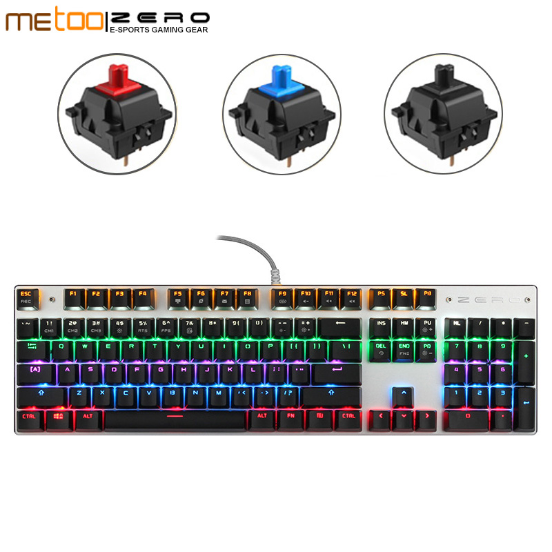 Me Too Zero English keyboard Ture RGB Wired keyboard Mechanical Keyboard blue/red switch Gaming Keyboard 104 keys