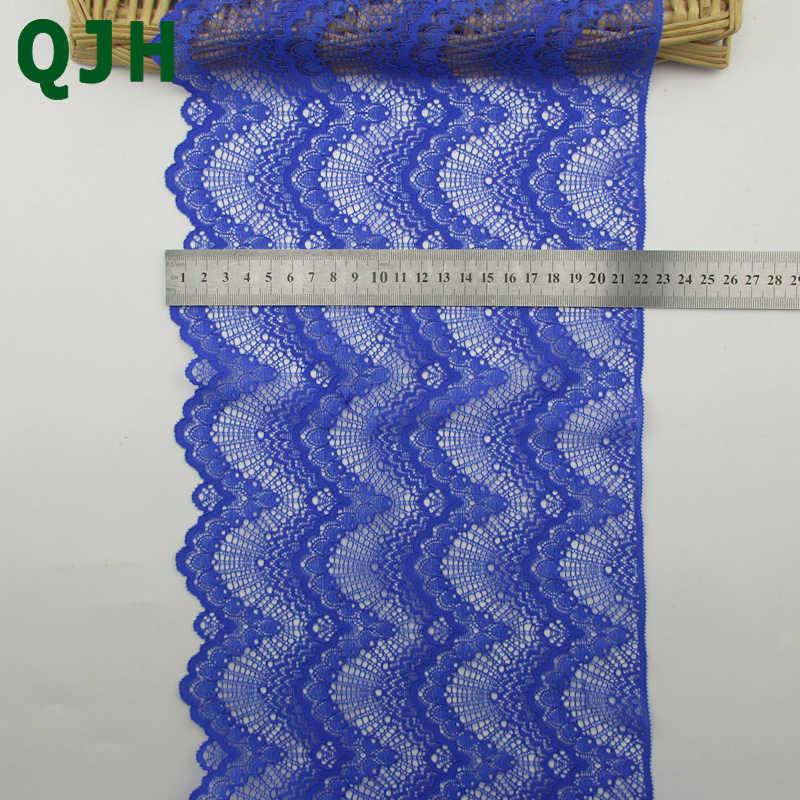"""1YDS 22 ס""""מ רוחב QJH בעבודת יד DIY תחרת רקמת תחרה לקצץ עיצוב הבית תחרה בד תפירת בגדי אביזרי כחול תחרה"""