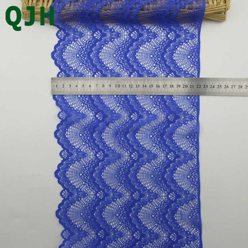 1YDS 22 cm Breedte QJH Handgemaakte DIY Guipure Borduurwerk Kant Trim Home Decoratie Kant Stof Naaien Kleding Accessoires Blauw Kant