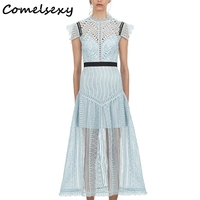 Comelsexy 2019 New Spring Runway Dress Lace Embroidery Hollow Out Patchwork Sleeveless Maxi Long Dress Elegant Party Vestidos
