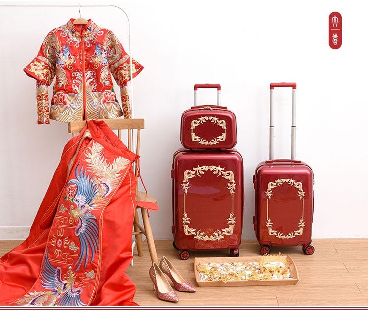 Bagaj ve Çantalar'ten Tekerlekli Bagaj'de Kırmızı nostaljik bavul Tekerlekler Haddeleme Bagaj Seti Retro Arabası Spinner Carry Düğün Seyahat Çantası'da  Grup 2