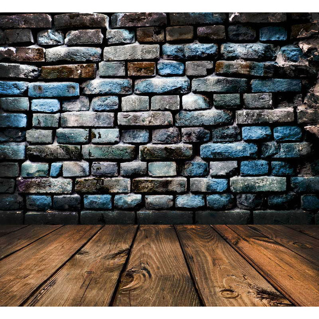 Light Color Bricks Wall Vintage Wooden Floor Wedding Custom