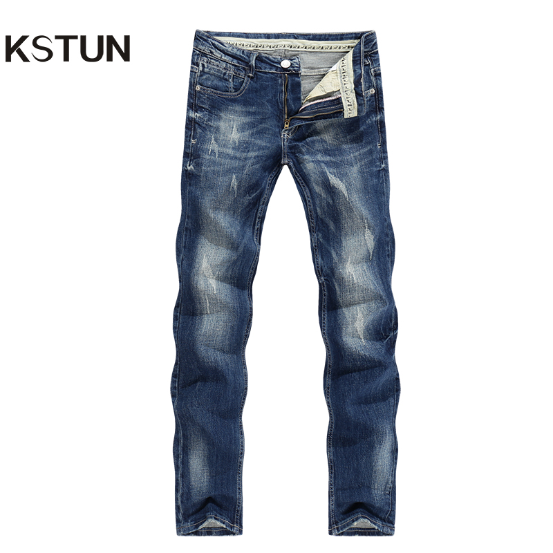 KSTUN New Arrivals Jeans Men High Quality Busines Casual Pants Straight Slim Blue Thicken Autumn Winter Long Trousers Male Homme