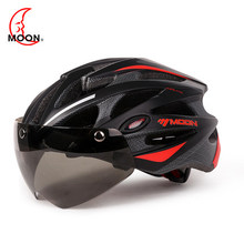 Moon bicycle riding helmet glasses integrated mountain road bike magnetic helmet men and women riding equipment cycling goggles helmet bicycle equipment men s road mountain bike safety helmet bicycle glasses one piece molding