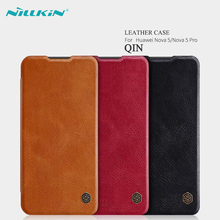 leather case for Huawei Nova 5 Pro Nillkin QIN Luruxy Flip PU Leather Cover Cases / With Card Slot