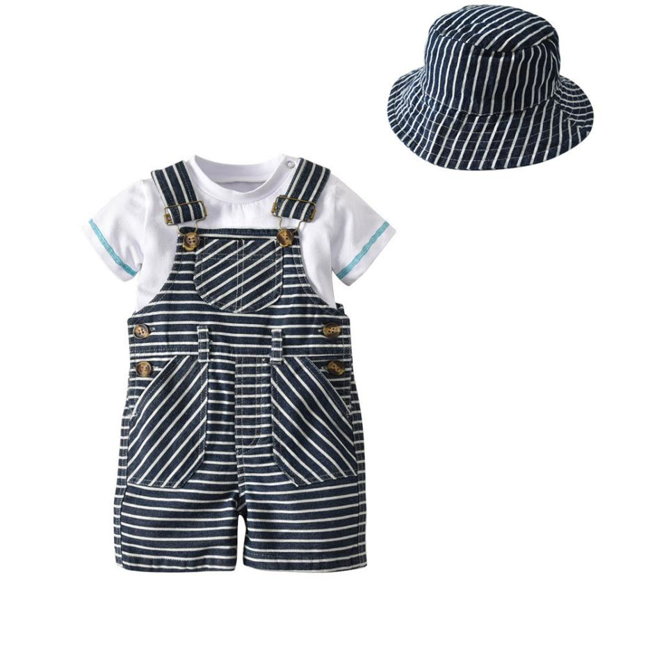 New Design Cute Kids Baby Boys Summer Gentleman Tops T-Shirt +Suspenders Shorts+Hap Set Comfortable Touch High Quality