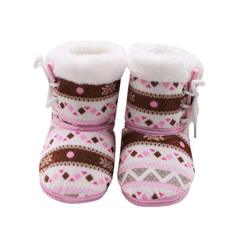 Autumn Winter Warm Fleece Snow Winter Boots For Baby Girl Boy Anti-silp Prewalker Bootie Warm Shoes 0-18 Months