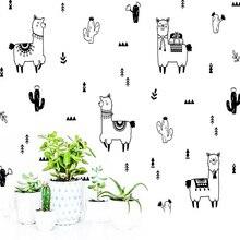 Cartoon Desert Plant Alpaca Wall Sticker Wall Decal Sticker Home Decor For Kids Room Living Room Home Decor Vinyl Decals cartoon plant vinyl decorative wall sticker