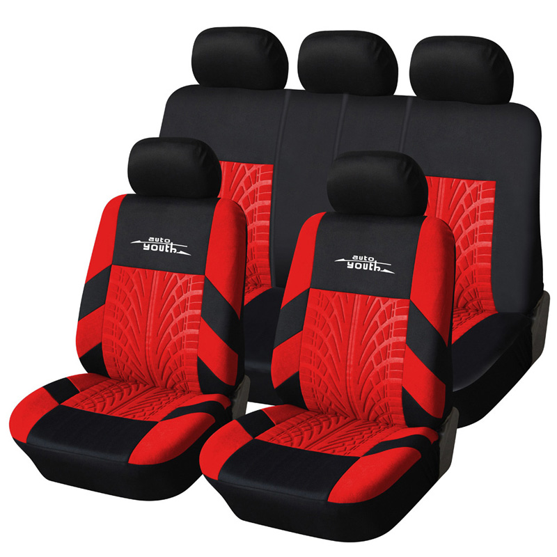 Polyester Fabric Universal Car Seat Cover Set Red Car Styling Fit Most Car Interior Accessories Sedans Seat Covers for Car Care car seat