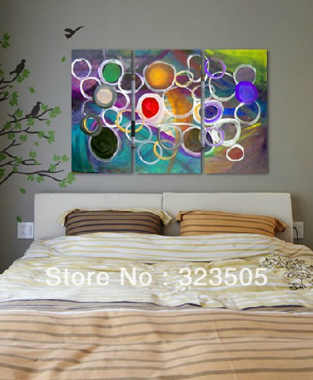 3 Panel Colorful Canvas Wall Art Modern Abstract Three Piece Bedroom Oil Painting Set On