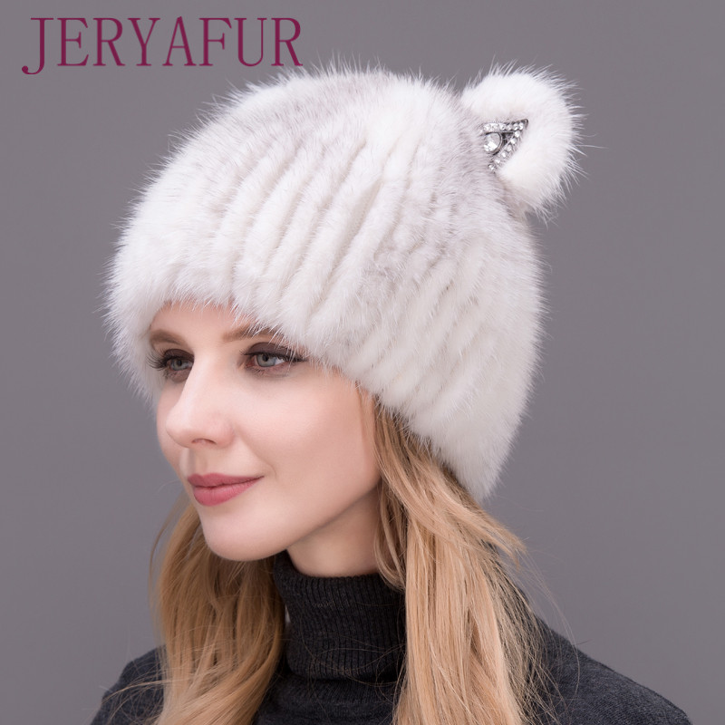 2017 New Mink Cat Ear Cap For Women And Girls, Warm And Lovely, Attractive Popular Hat Without Fox Fur, Vertical Weaving. 2017 of the latest fashion have a lovely the hat of the ear lovely naughty lady s hat women s warm and beautiful style