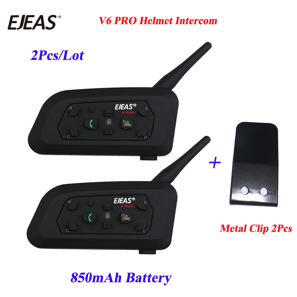 EJEAS 2Pcs/Lot With Metal Clip V6 Pro Motorcycle Kelmet Bluetooth Headset Intercom Earphone Bluetooth Motorbike Interphone